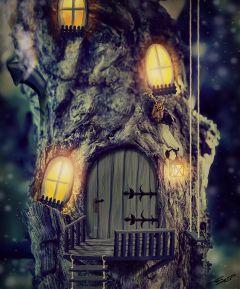 treehouse owl littleowl draw picsart