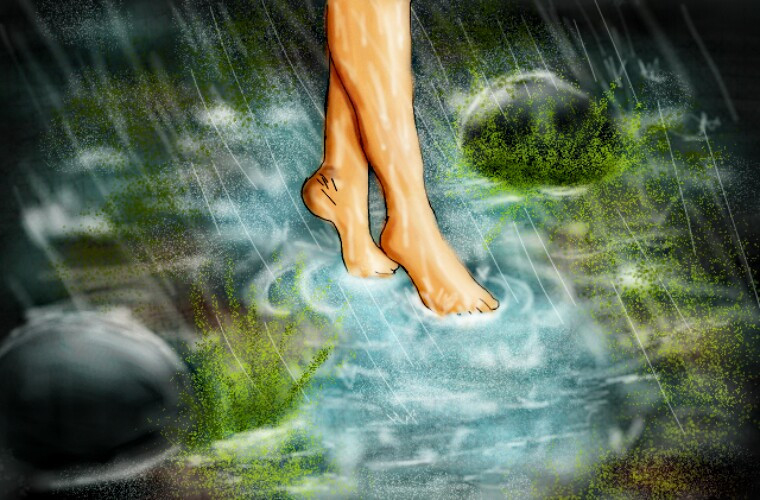 2nd entry for the contest.  I love the feel of the water in my feet,  it's very fun and relaxing!  😊😀 #nature #rain #winter #dcrainyday