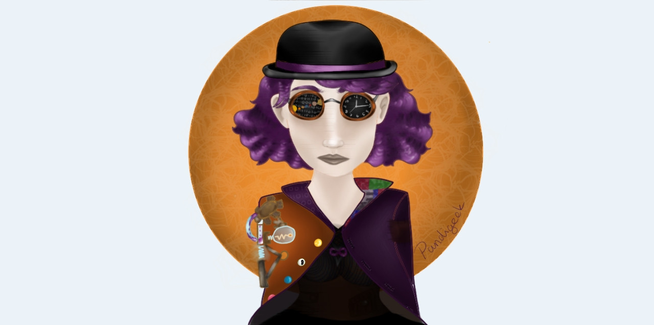 Yass finaly done! (Ive actually been done for days I just forgot to post xD)  Anyways, this is for @little_galloper ! I hope you all like it ^-^   Go follow @-keith- ! His/her account is awesome, really great art ^-^  #digitalart #art #drawing #woman #halloween #matrix? #steampunk #purple #orange